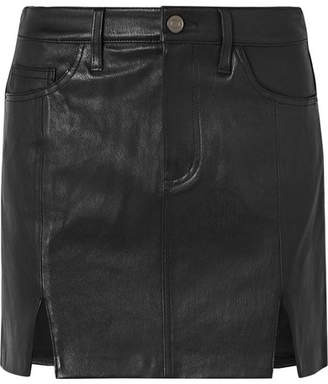 Current/Elliott Textured-leather Mini Skirt - Black