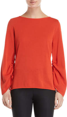 Les Copains Coral Cinched-Sleeve Sweater