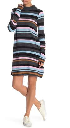 Cotton Emporium Striped Mock Neck Sweater Dress