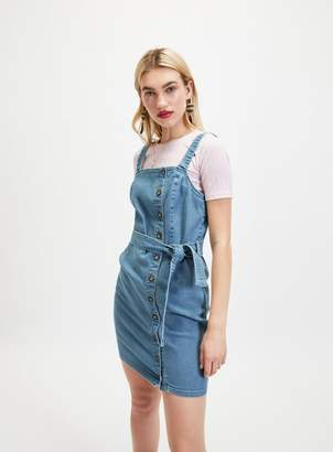 3adf2be74c2 Miss Selfridge Blue Denim Belted Pinafore Dress