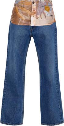 Maison Margiela Floral-Paneled Straight-Leg Jeans