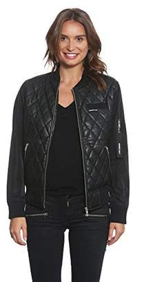 Members Only Women's Faux Leather Quilted Bomber