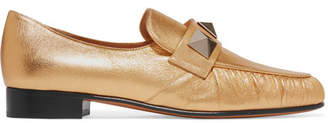 Rockstud Metallic Textured-leather Loafers - Gold