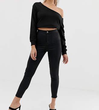 Asos DESIGN Petite Rivington high waist denim jeggings in black coated