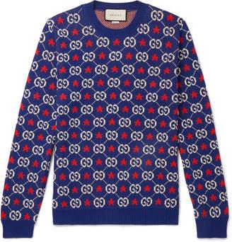 Gucci Logo-Intarsia Cotton Sweater - Men - Blue
