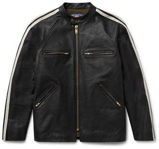 Blackmeans Shearling-Lined Striped Leather Café Racer Jacket