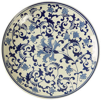 """One Kings Lane 15"""" Floral Decorative Plate - Blue/White"""