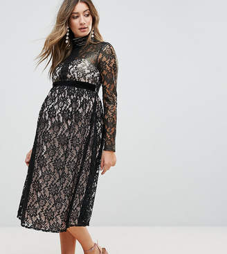 Little Mistress Maternity Allover Cutwork Lace Midi Dress