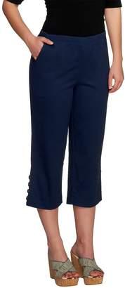 Denim & Co. Original Waist Stretch Twill Capri Pants w/Button Detail