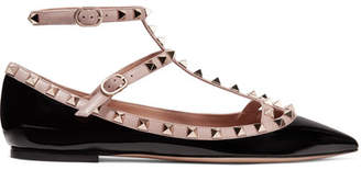 Valentino Garavani The Rockstud Patent-leather Point-toe Flats