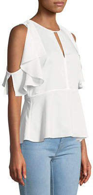 Rachel Roy Taylor Cold-Shoulder Ruffle Top