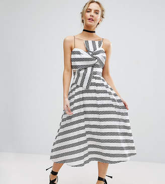 Asos Stripe Bow Midi Dress