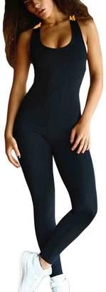 ettre d'amour Women Bandage Crisscross Fitness Yogaong Pants Rompers Jumpsuits