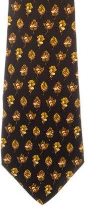 Salvatore Ferragamo Leaf Print Silk Tie