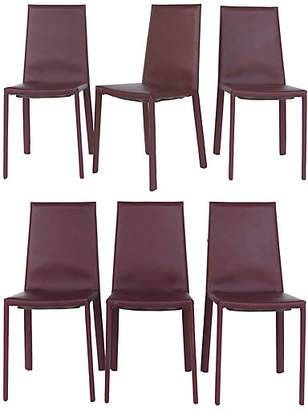 One Kings Lane Vintage Arrben Italy Leather Side Chairs - Set of 6
