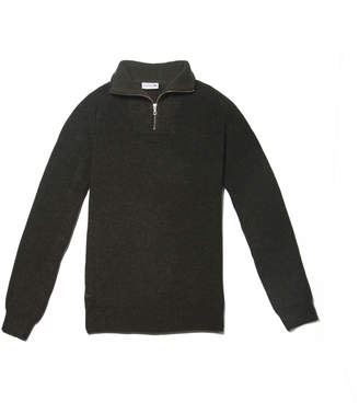 Lacoste Men's Zippered Stand-Up Collar Ribbed Wool Sweater