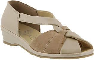 Spring Step Leather Peep-Toe Sandals - Jasna