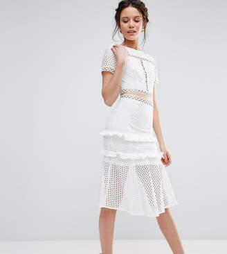 True Decadence Tall Cutout Lace Dress With Frill Hem