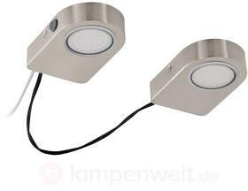 Lavaio LED-Unterbauleuchten 2er-Set, nickel matt