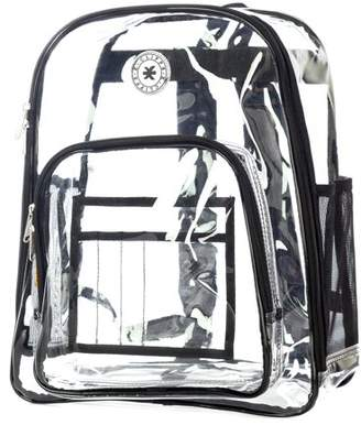 clear K-Cliffs Heavy Duty Backpack See Through Daypack Student Transparent Bookbag Purple