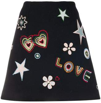 Parker Chinti & Love embroidered mini skirt