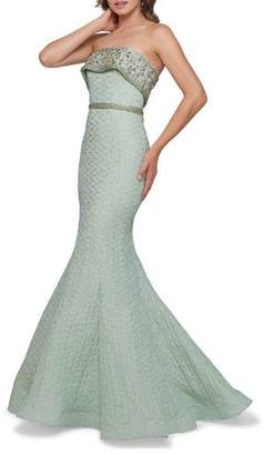 Mac Duggal Beaded Overlay Strapless Embossed Trumpet Gown