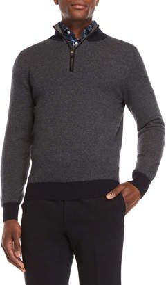 Luciano Barbera Quarter-Zip Elbow Patch Sweater
