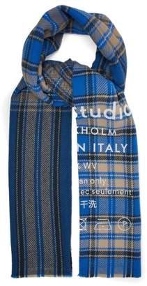 Acne Studios Cassiar Logo Print Check Wool Scarf - Womens - Blue