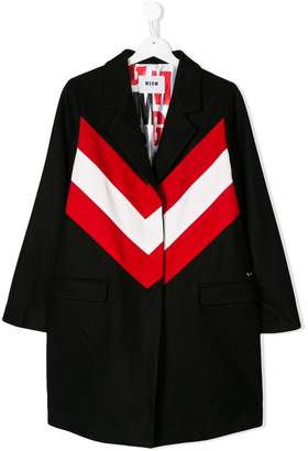 MSGM TEEN contrasting stripe coat