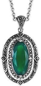 Suspicion Sterling Oval Agate & Marcasite Pendant w/ Chain