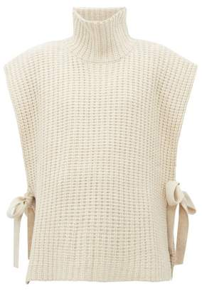 See by Chloe Side Tie Ribbed High Neck Sweater - Womens - Ivory