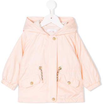 Chloé Kids drawstring waist hooded coat