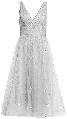Marchesa Women's Glitter Tulle V-Neck Empire Waist A-Line Dress - Size 0