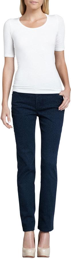 NYDJ Sheri Heritage Cheetah-Print Skinny Pants, Petite