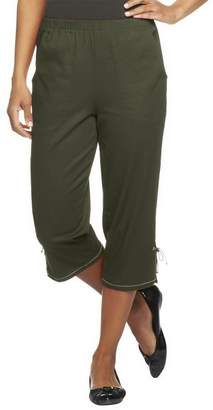 "Denim & Co. How Timeless"" Side Pocket Capri Pants w/ Bottom Slit"