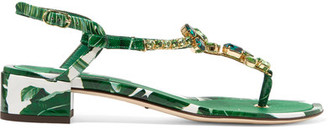 Dolce & Gabbana - Embellished Printed Patent-leather Sandals - Green $1,145 thestylecure.com