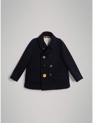 Burberry Childrens Painted Button Wool Pea Coat