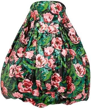 Richard Quinn Bubble Hem Floral Sequinned Dress - Womens - Pink Multi