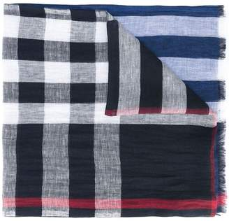 Burberry check panel scarf