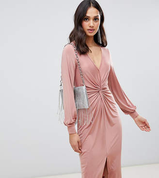 362d92385ca7 Miss Selfridge knot front midi dress in blush