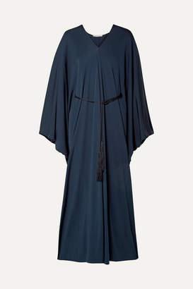 The Row Joanna Belted Jersey Maxi Dress - Navy