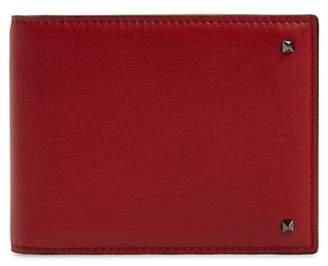 Valentino Stud Leather Money Clip Wallet
