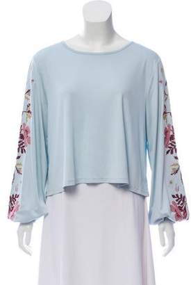 Magaschoni Embroidered Long Sleeve Top