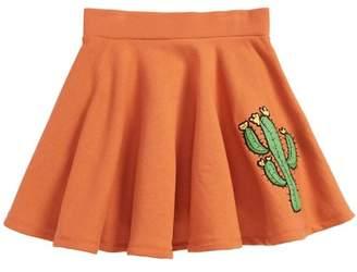 Mini Rodini Appliqué Cactus Organic Cotton Circle Skirt (Toddler Girls & Little Girls)