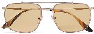 Prada Aviator-Style Silver-Tone Sunglasses