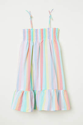 H&M Cotton Dress with Smocking - Green
