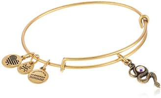 Alex and Ani Path of Symbols Snake with Crystal Expandable Gold Wire Bangle Charm Bracelet