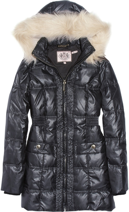 Juicy Couture Faux fur-trimmed quilted hooded coat