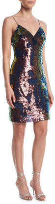 Aidan Mattox Slip Sequin Mini Dress w/ Spaghetti Straps