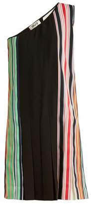 Diane Von Furstenberg - One Shoulder Pleated Dress - Womens - Black Multi